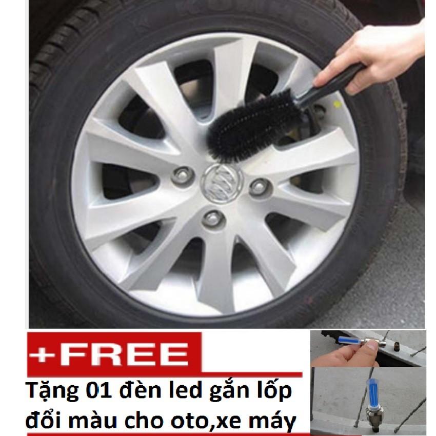 Bàn chải cọ rửa làm sạch lốp ô tô (Đen) Tặng Đèn Led Gắn Lốp Đổi Màu TL 131