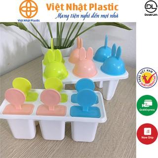 Bộ khuôn làm kem 6 que nhựa Việt Nhật có nắp tay cầm nhiều màu sắc 5616-5617