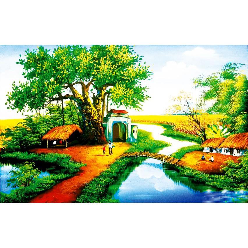 Tranh dán tường làng quê Việt Nam – VẢI LỤA phủ kim sa (kích thước theo yêu cầu) – Giấy dán tường