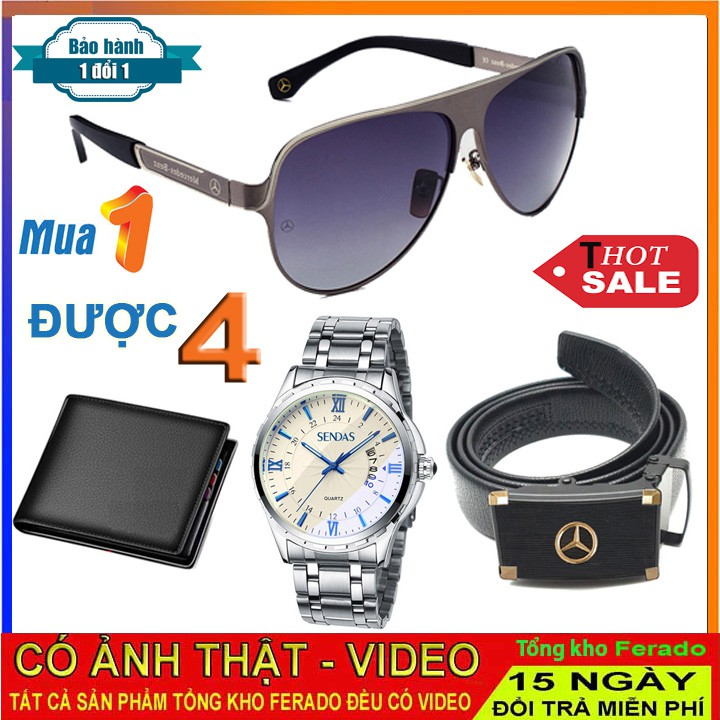 Đồng hồ nam Sandas kèm ví da, kính mắt nam chống tia UV và dây lưng thời trang [COMBO 4 MÓN]