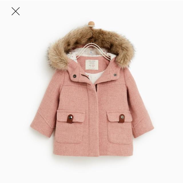 Áo dạ hồng mũ lông Zara cho bé gái