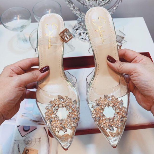 (Có Sẵn)Giày cao gót trong suốt đính đá hoa mai vàng cao 7p - mai đá 7p giá rẻ