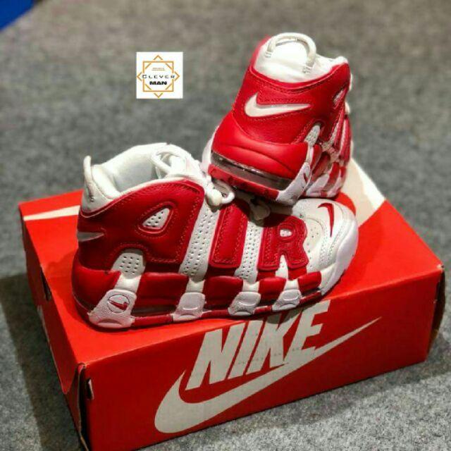 (ẢNH THẬT) Giày thể thao AIR MORE UPTEMPO White/red Trắng chữ đỏ