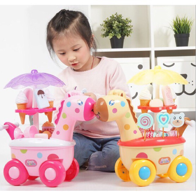 Xe đẩy kem kẹo phát nhạc- Đồ chơi nhập vai bán kem cho bé - Bộ đồ chơi xe đẩy bán keo kẹo có nhạc đèn cho bé