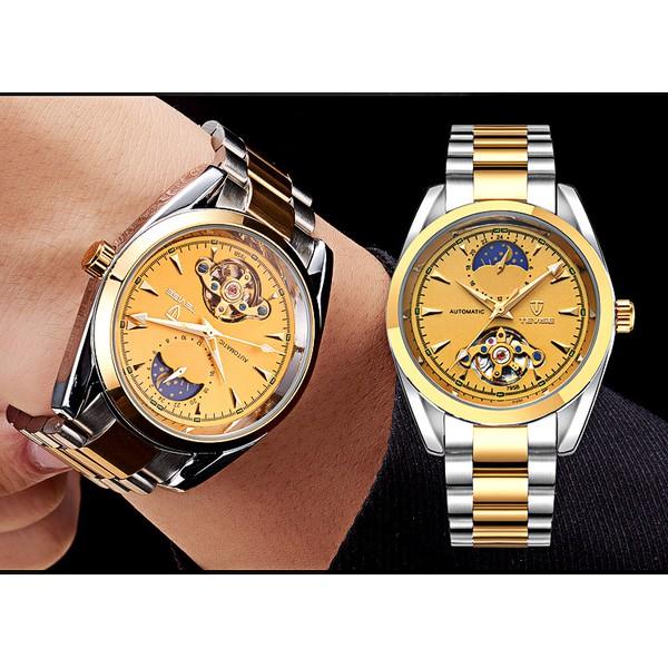 Đồng hồ cơ nam Tevise 005 dây trắng sọc vàng mặt vàng