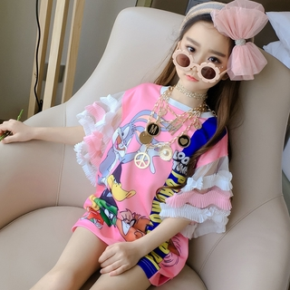 Girls' Dress Fashion Petals-Sleeve T-shirt Dress Cute Cartoon Dress