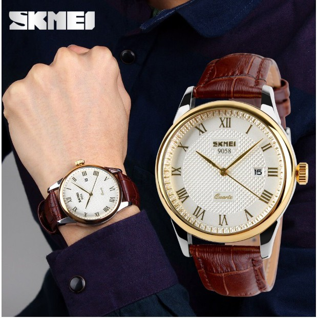Đồng hồ nam dây da tuyệt đẹp Skmei 9058