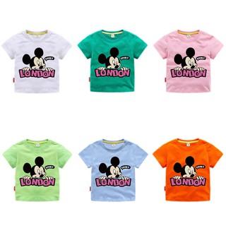 Áo thun tay ngắn in hình chuột Mickey cho bé gái