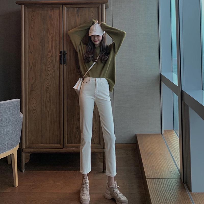 quần jeans nữ dài lưng cao ống rộng thời trang hàn