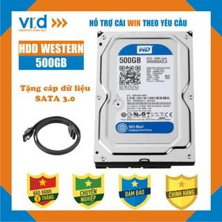 Ổ cứng HDD 500GB Western Blue - Tặng cáp sata 3.0 - Hàng nhập khẩu tháo máy đồng bộ mới 98% - Bảo hành 1T