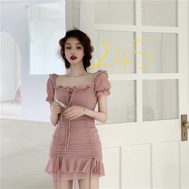 Váy Ulzzang Tiểu thư hồng basic tay bồng cổ vuông
