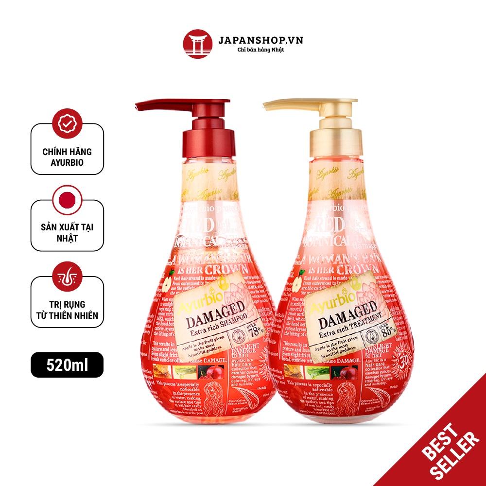 Combo dầu gội xả thiên nhiên Ayurbio giảm rụng tóc, giảm tình trạng bết dính, dầu thừa Made in Japan