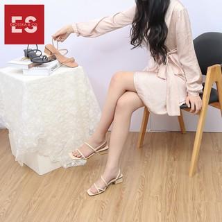 Hình ảnh Sandal nữ xỏ ngón dây mảnh thời trang Erosska cao 5cm màu kem_EB024-3