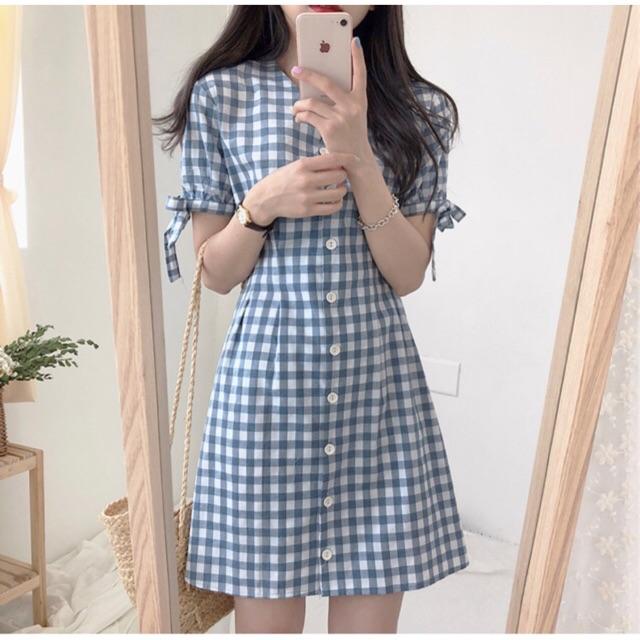 Váy kẻ nơ tay Hàn