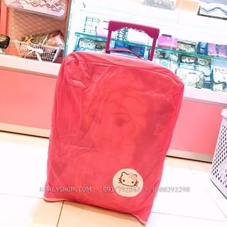 Áo bọc vali, túi trùm vali bằng vải size 18 inch hình Mèo Hello Kitty màu hồng cho bé gái, bạn nữ - BAVVLKTH thumbnail