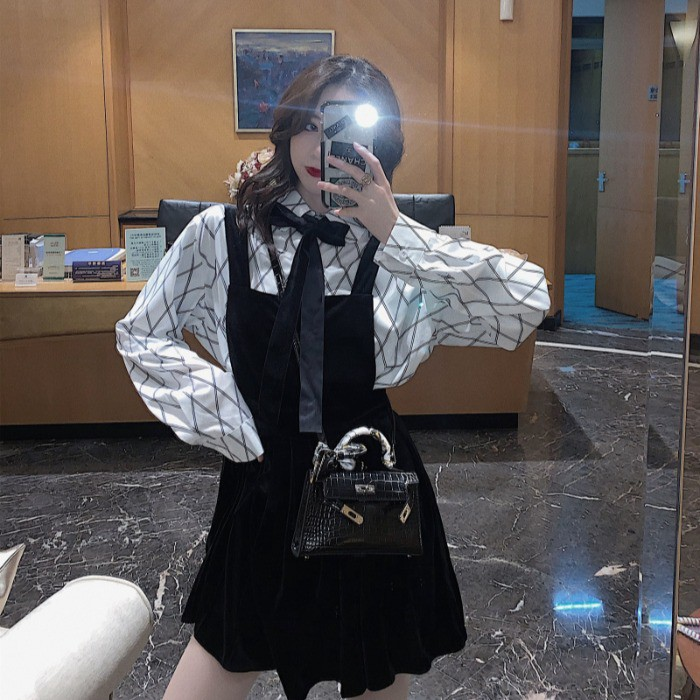 Velvet pleated strap dress diamond plaid shirt bow set women