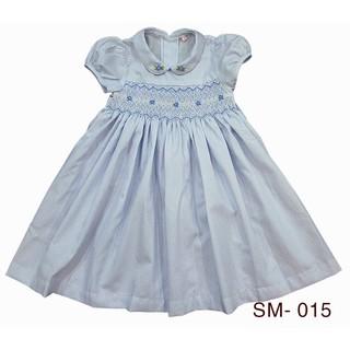 """Đầm bé đẹp siêu xinh, đầm xích móc thêu tay 'hand smocked dress"""" Kabota sọc trắng blue baby SM015"""