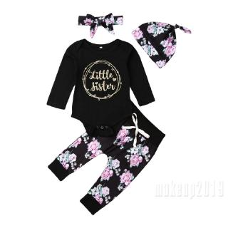 Mu♫-4pcs Set Toddler Infant Baby Girl Little Sister Clothes Romper Tops Floral Long Pants Hat
