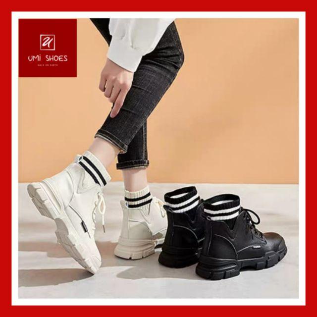 Giày bốt cổ chun sọc đen trắng da mềm độn đế cao 3cm chắc chắn giá rẻ cá tính mới nhất hot ulzzang đơn giản cổ thấp xinh