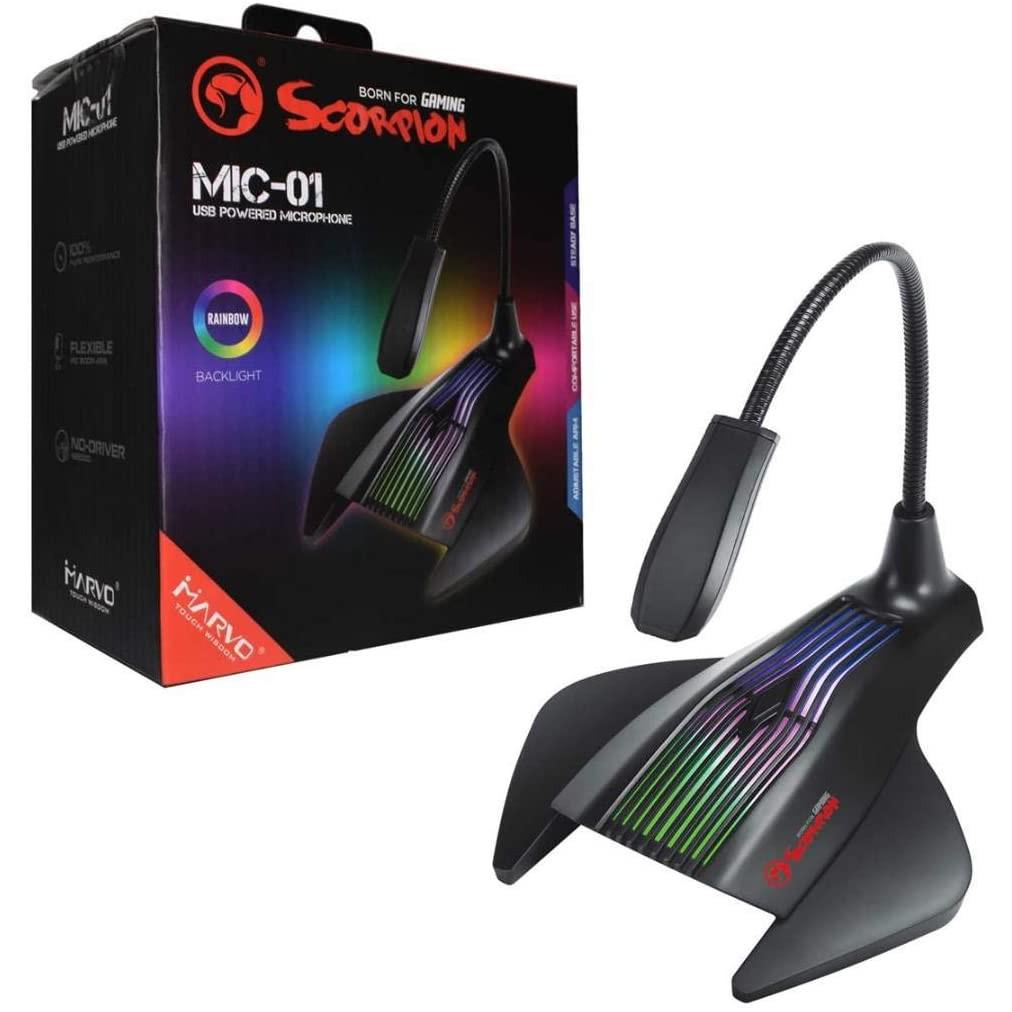 Micro Máy Tính MARVO MIC 01 - CÓ ĐÈN LED RGB - Kết Nối Cổng USB. Hàng Chính Hãng, Full Box