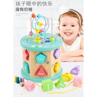 Hộp thả hình khối gỗ hình khối, luồn hạt bằng gỗ cho bé phát triển tư duy (Hình ảnh thật)