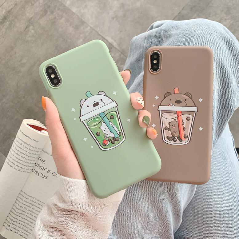 COD OPPO r9 plus r9s r11 r11s r17 a57 a83 a3 Cartoon Milk Tea Bear Soft Shell Phone Case 293