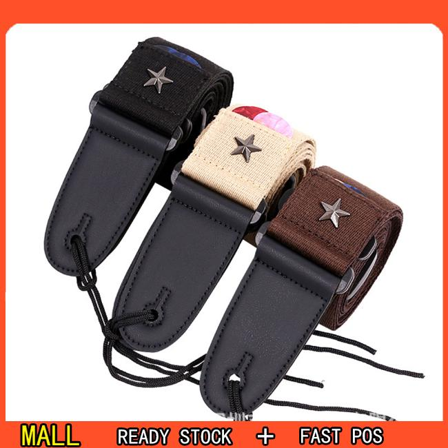 Electric Guitar Strap Acoustic Folk Guitarra Vintage Pentagram Guitar Straps with Pick Pocket