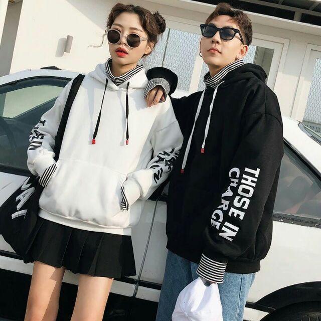 Áo hoodie nam nữ phối chữ FREESIZE - Áo khoác nỉ