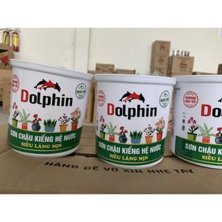 """Sơn chậu hệ nước Dolphin màu đỏ chu (Lon 1kg) – Sơn chậu kiểng dòng kinh tế """"siêu láng mịn"""""""