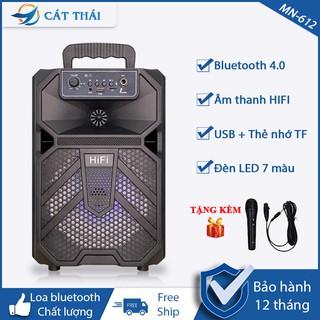 Loa bluetooth MN-612 tặng kèm Micro karaoke thoải mái, remote điều khiển từ xa tiện lợi, âm thanh HIFI, có đèn LED 7 màu