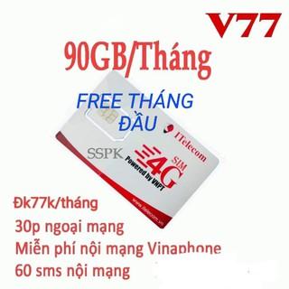Sim 4G ( đã nạp 77k) Vinaphone & Itelecom MAY gói 90gb/tháng + 30phút gọi ngoại mạng