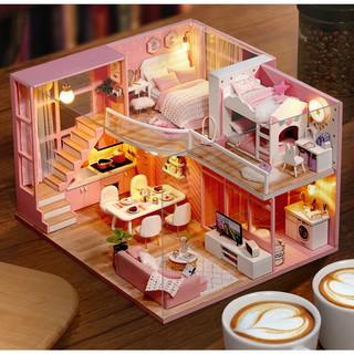 Mô hình nhà búp bê gỗ – biệt thự màu hồng Dream Angels (có keo silicone, mica che bụi)