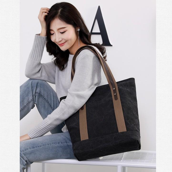 Túi xách nữ vải canvas cao cấp dày dặn chắc chắn có khóa kéo đựng vừa laptop 15 inch nhiều ngăn tiện dụng