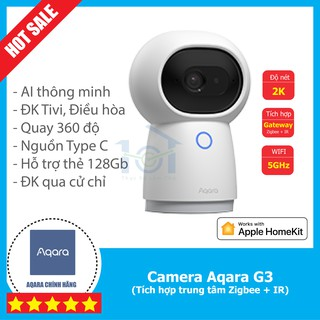 Camera thông minh Aqara G3 - Nhận diện AI, độ nét 2K, tích hợp dk hồng ngoại IR Zigbee, Wifi 5G, Quay 360 - Homekit thumbnail