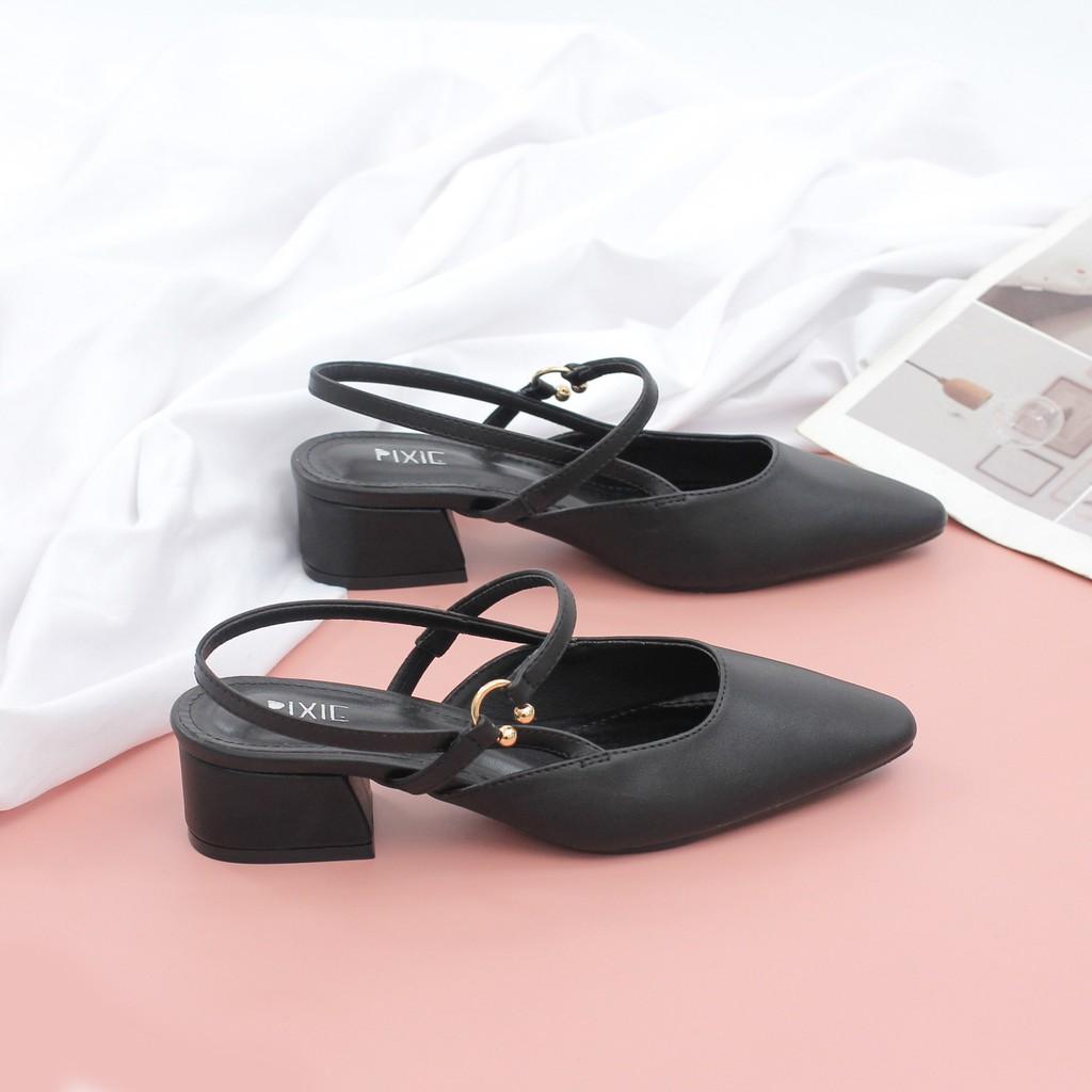 Giày Cao Gót 3cm Hở Gót Mix Nhiều Màu Pixie X466
