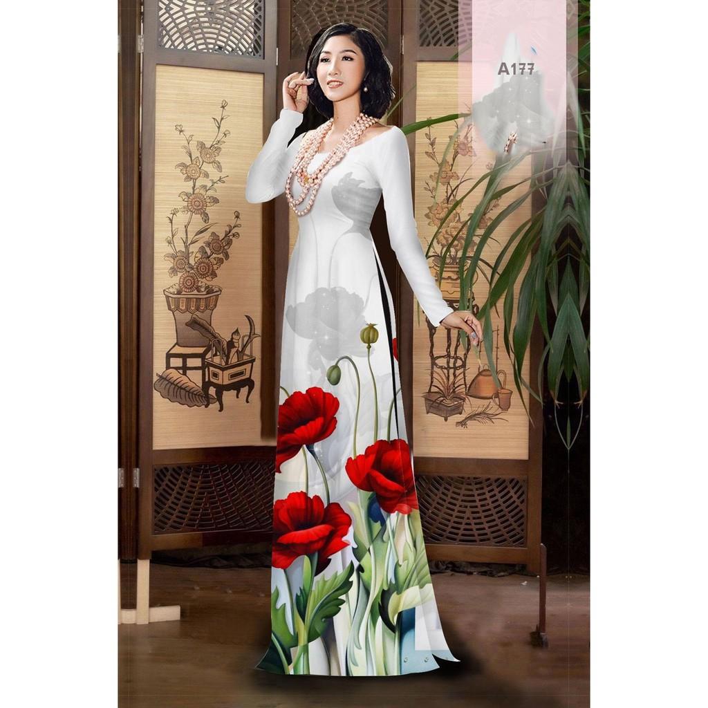 Vải may áo dài lụa màu trắng, in 3D cao cấp