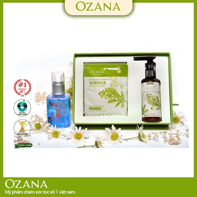 Combo Dầu Gội Đen Tóc dành cho tóc bạc, tóc bạc sớm OZANA (Chính Hãng 100%), Tinh Dầu Dưỡng Tóc thảo dược CB05