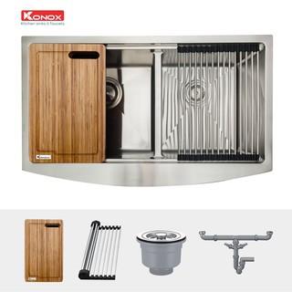 Chậu rửa bát inox đúc nguyên khối  KONOX Apron Series KN8450DA, inox 304AISI, full set gồm Siphon+Thớt gỗ+Rollmat