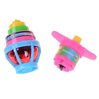 Glow Rotating Gyro Winding Toy Colorful Gyro With Launcher Prize Kids Toys