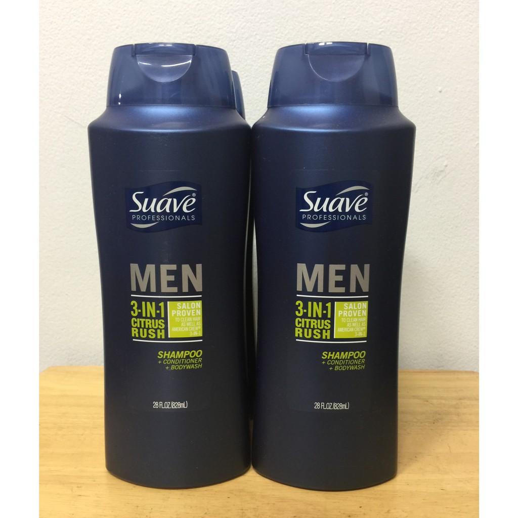 Dầu Gội Xả và Sữa Tắm Suave Men 3 in 1 Xuất Xứ Mỹ