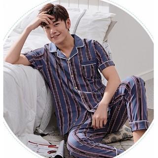 Pijama nam cộc tay-Đồ bộ pijama nam họa tiết sọc đỏ đen chất COTTON 100 cao cấp (103)-Shop Pijama Hà Nội