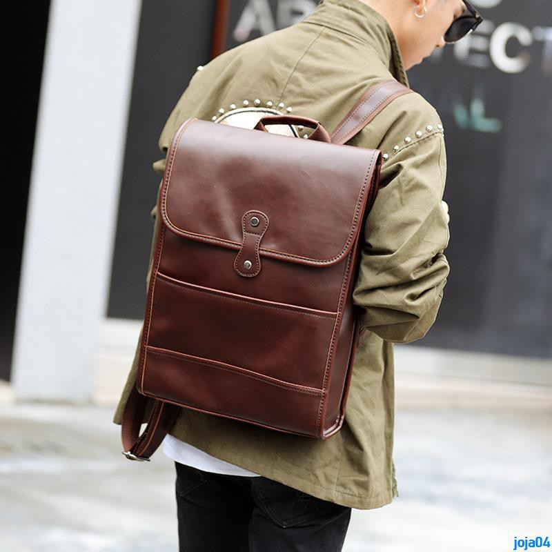 Full order 250000 shipmentsRetro Crazy Horse Leather Backpack Korean version of the tide student bag men bag male backpa