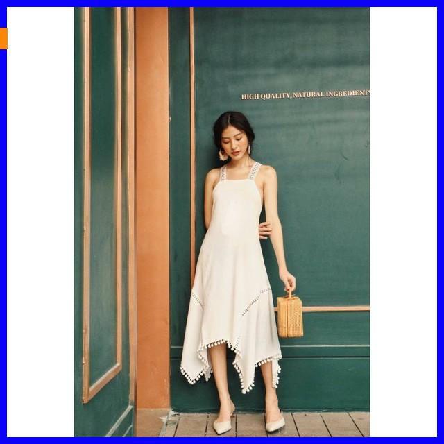 2189557987 - [ Hot Nhất ] Đầm maxi đi biển cao cấp, đầm maxi trắng hở lưng váy chữ a váy maxi váy 2 tầng váy dạ hội