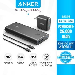 Bộ pin sạc dự phòng ANKER PowerCore+26800mAh PD 45W kèm Sạc PowerPort Atom III 60W-B1376 thumbnail