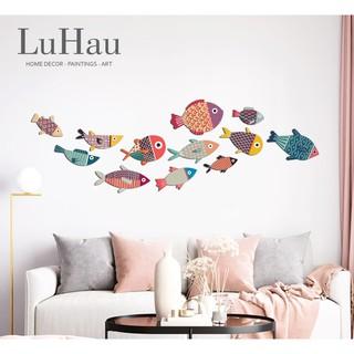 Set tranh Luhau Cá decor dán tường Color Fishes 12 bé cá xinh treo tường trang trí