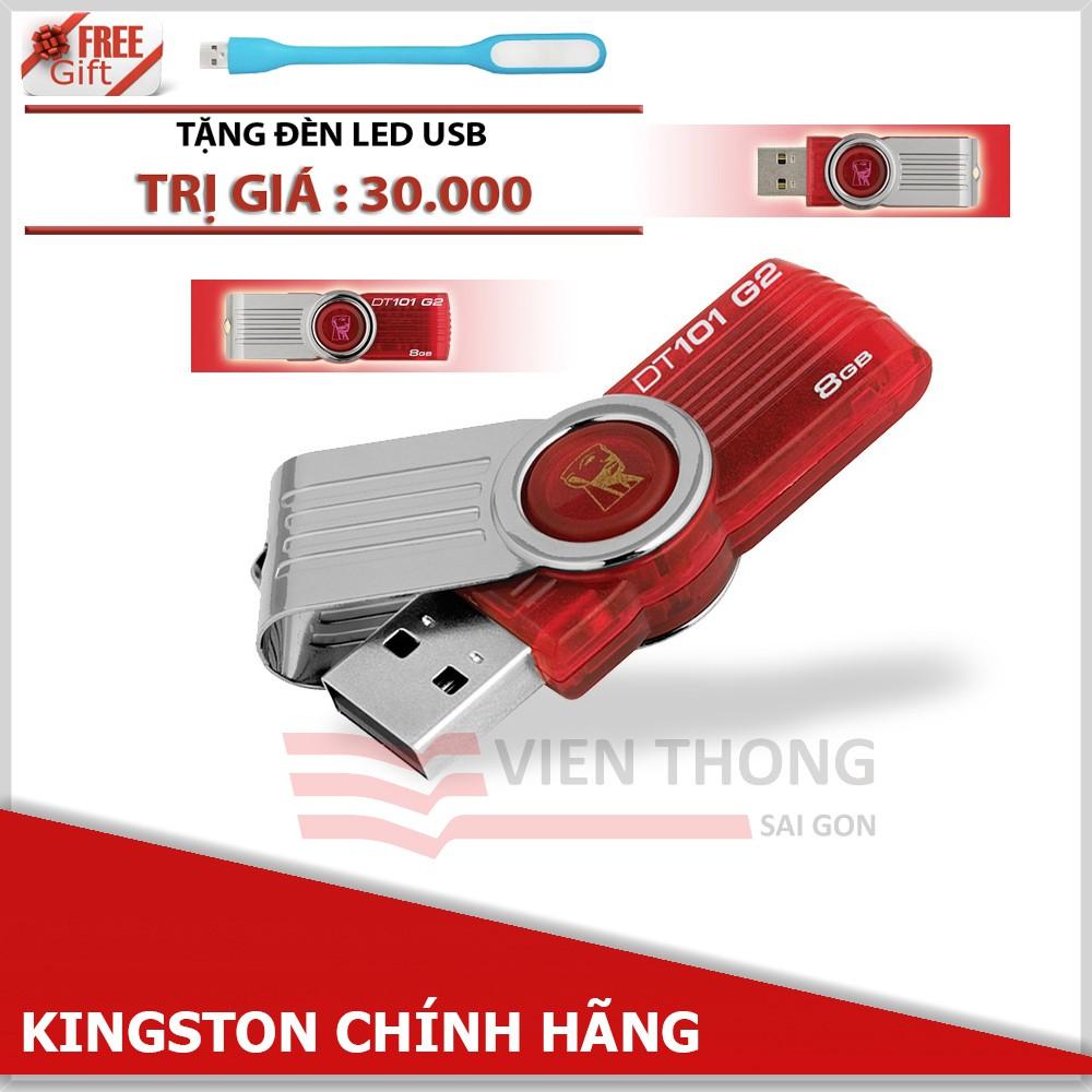 USB 8GB Kingston DT101 G2 (Đỏ) tặng đèn LED USB - Hãng phân phối chính thức