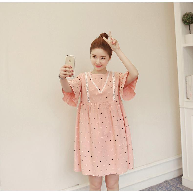 Váy Bầu Chấm Bi Hồng Pha Ren ( kèm ảnh thật )