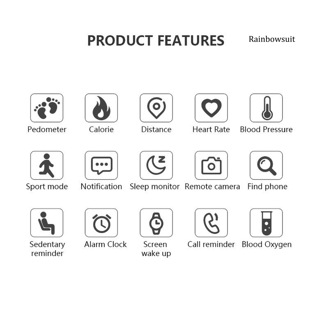Đồng Hồ Đeo Tay Thông Minh Rb- W6 Bluetooth 4.0 Chống Nước Theo Dõi Nhịp Tim