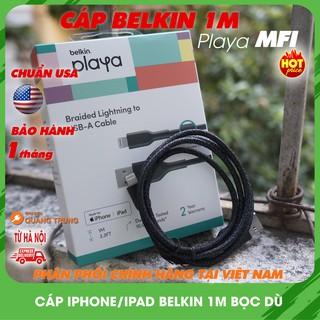 Cáp sạc lightning belkin 1m bọc dù,chuẩn MFI,sạc cực tốt cho iphone,ipad