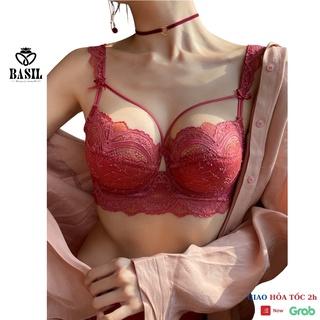 Bộ đồ lót BS06 Basil nữ đệm mỏng có gọng nâng ngực dây đan chéo ren mềm thumbnail